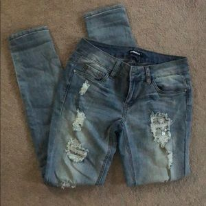 Dollhouse Jeans Distressed w Lace & Silver Sequins